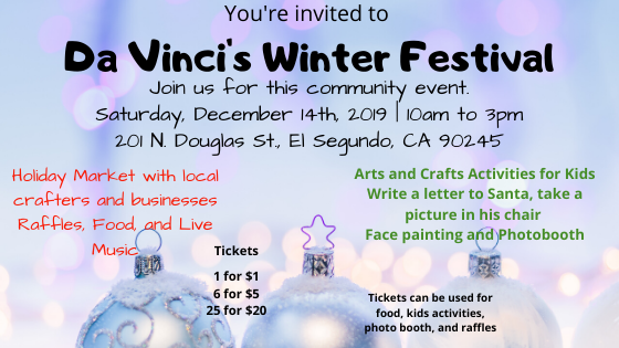 Da Vinci's Winter Festival and Holiday Market – Dec. 14th